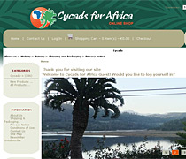 Cycads for Africa. An example of an eCommerce website, online shopping.