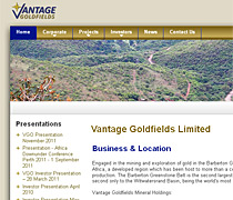 Vantage Goldfields. A CMS based site, continually updated with press releases and stock announcements.